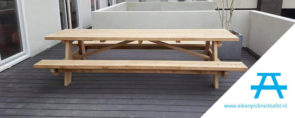 eiken picknicktafel 3 meter